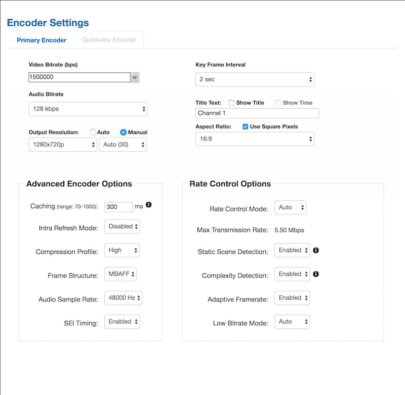 Screen capture of Teradek Encoder Settings